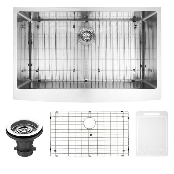 Bedford Stainless Steel 36 in. Single Bowl Farmhouse Apron-Front Kitchen Sink with Strainer and Stainless Steel Grid