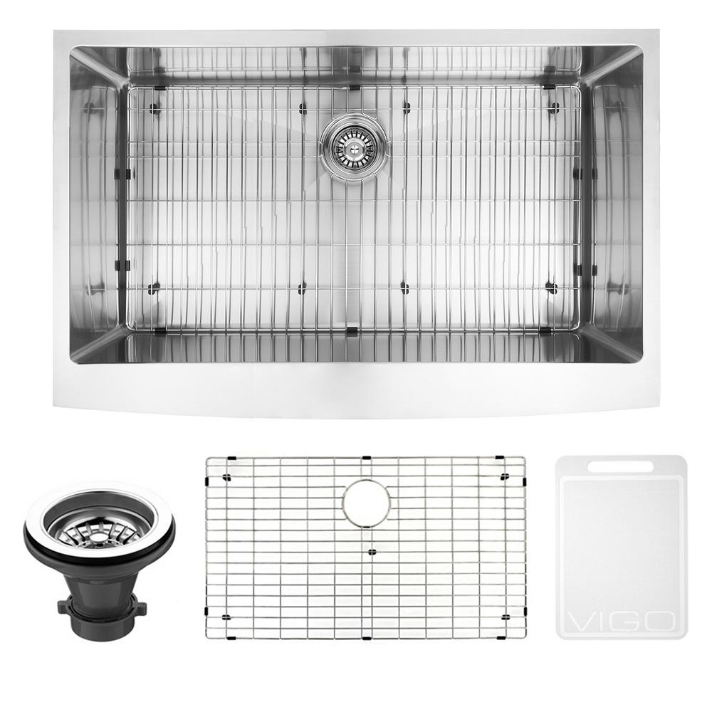 VIGO Bedford Farmhouse Stainless Steel 36 in. 0-Hole Single Bowl Kitchen Sink with 1 Grid, 1 Strainer in Stainless Steel, Silver was $499.9 now $399.9 (20.0% off)