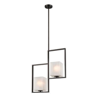 Wilmington 2-Light Oil Rubbed Bronze Chandelier with Cracked Glass