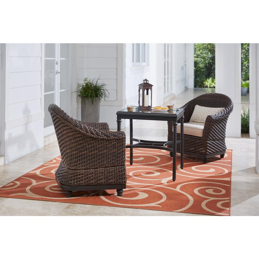 Camden Dark Brown Wicker Outdoor Porch Lounge Chair with Sunbrella Antique Beige & Fretwork Flax Cushions (2-Pack)