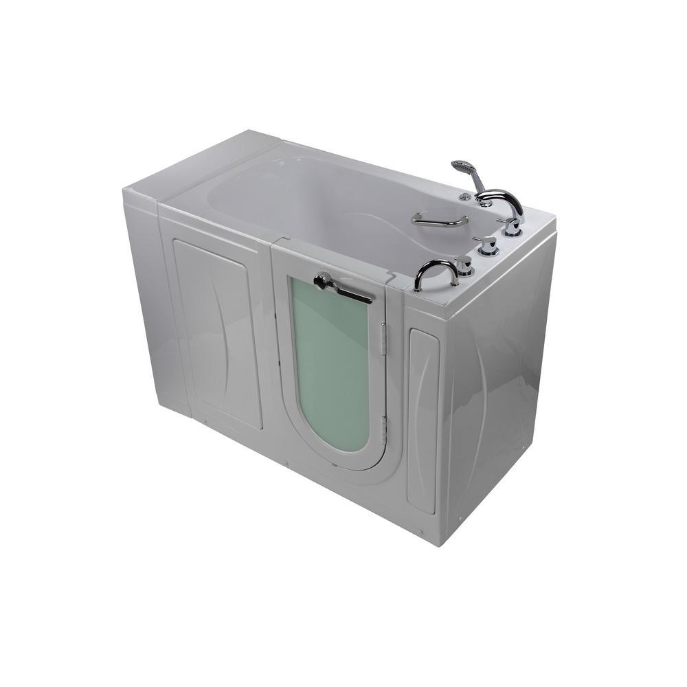 Malibu 52 in. Acrylic Walk-In MicroBubble Air Bath in White with RH Outward Swing Door, Faucet Set, RHS 2 in. Dual Drain