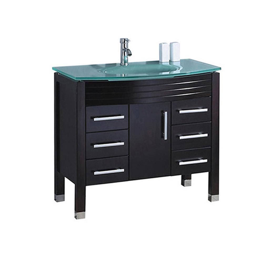 MTD Vanities Fort 36 in. W x 21 in. D x 36 in. H Bath Vanity in Espresso with Aqua Tempered Glass Vanity Top with Glass Basin