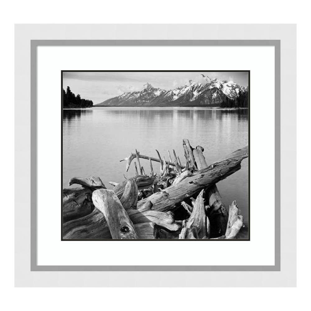 """Driftwood on shore of Jackson Lake, Grand Teton National Park, WY"" by Ansel Adams Framed Wall Art"