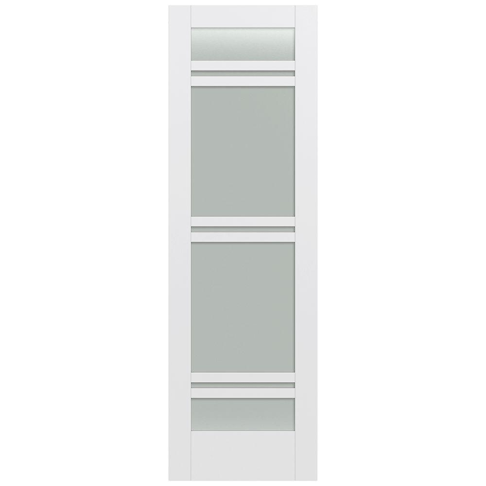 Jeld-Wen 32 in. x 96 in. Moda Primed PMT1071 Solid Core Wood Interior Door Slab w/Translucent Glass