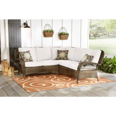 Beacon Park 3-Piece Brown Wicker Outdoor Patio Sectional Sofa with CushionGuard Chalk White Cushions