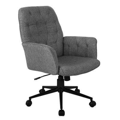 Grey Modern Upholstered Tufted Office Chair with Arms
