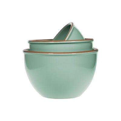 3-Piece Terracotta Mint Green Mixing Bowl Set
