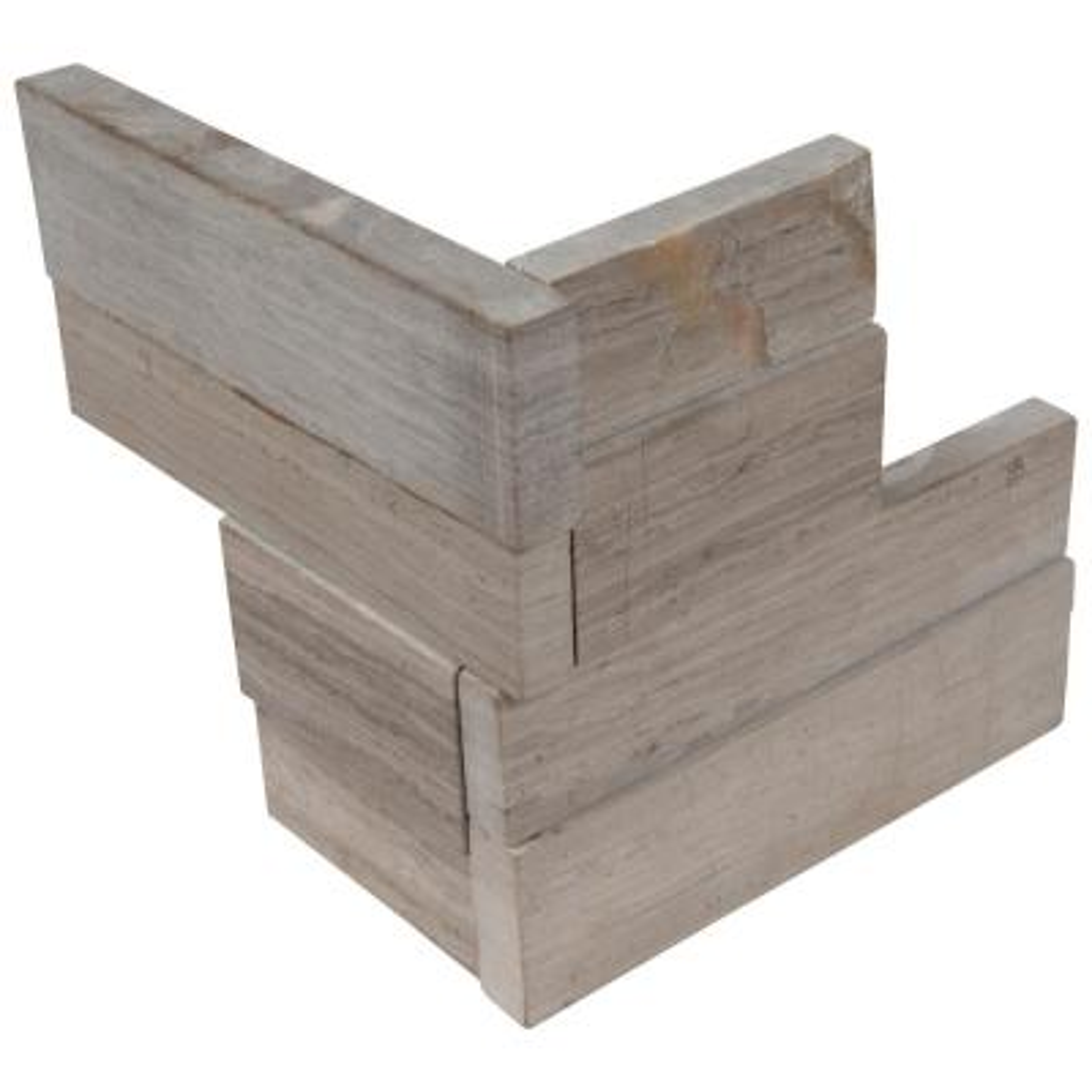 Gray Oak 3D Mini Ledger Panel Corner 4.5 in. x 9 in. Honed Marble Wall Tile (4 sq. ft. / case)