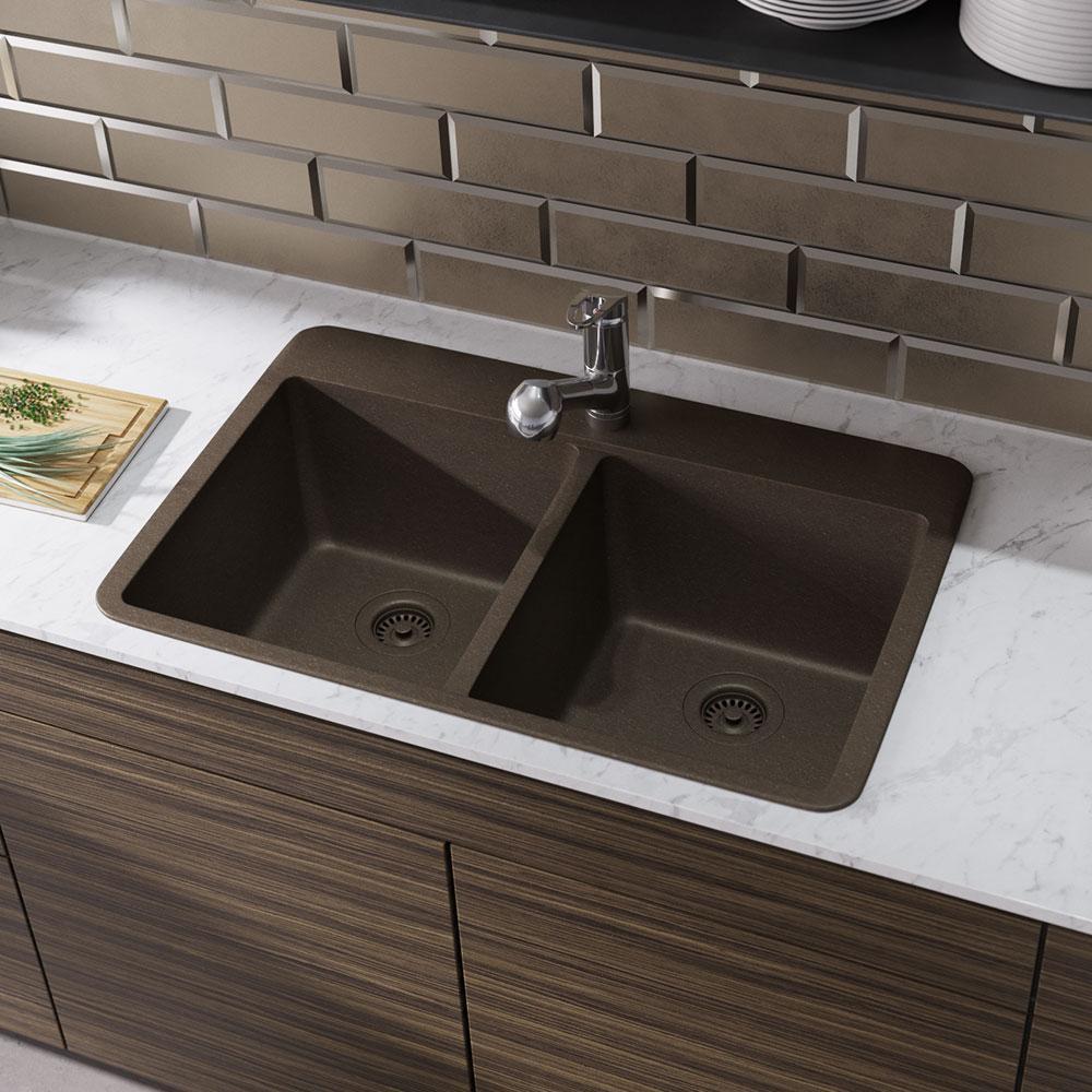 Drop-In Quartz 33 in. Double Bowl Kitchen Sink in Umber