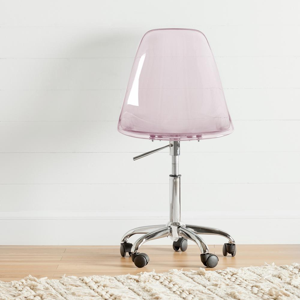 South S Annexe Clear Pink Blush Acrylic Office Chair With Wheels