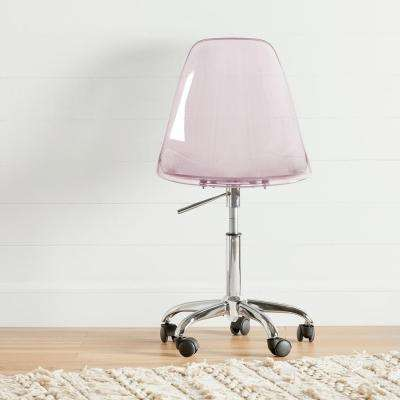 Annexe Clear Pink Blush Acrylic Office Chair with Wheels