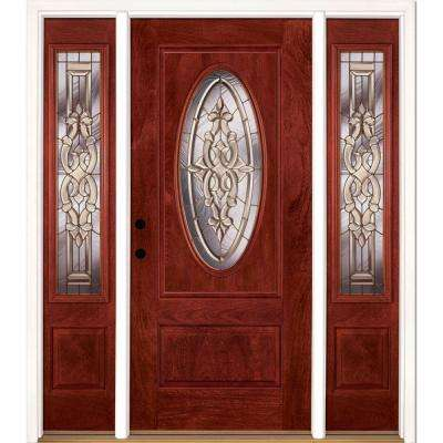 63.5 in.x81.625in.Silverdale Brass 3/4 Oval Lt Stained Cherry Mahogany Rt-Hd Fiberglass Prehung Front Door w/ Sidelites