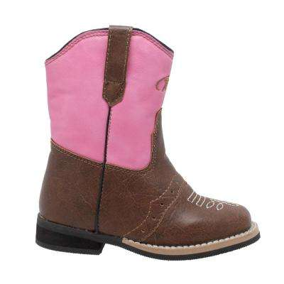 Girls Size 7 Pink/Brown Faux Leather 6 in. Side Zipper Western Cowboy Boots