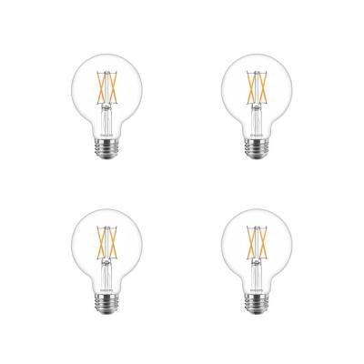 40-Watt Equivalent G25 Dimmable LED Light Bulb Clear Glass with Warm Glow Effect (2700K) (4-Pack)