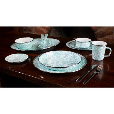 10.5 in. Sea Glass Enamelware Round Dinner Plate Set of 4