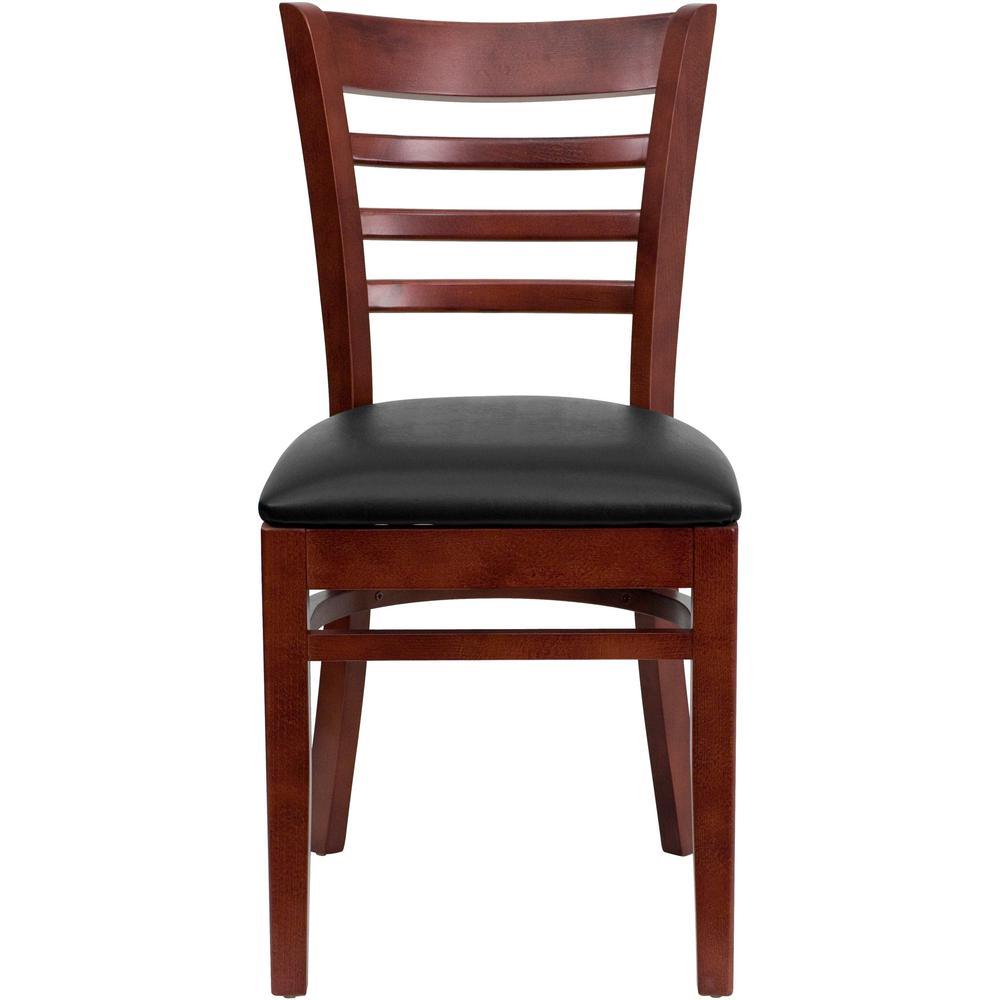 Hercules Series Mahogany Ladder Back Wooden Restaurant Chair with Black Vinyl Seat