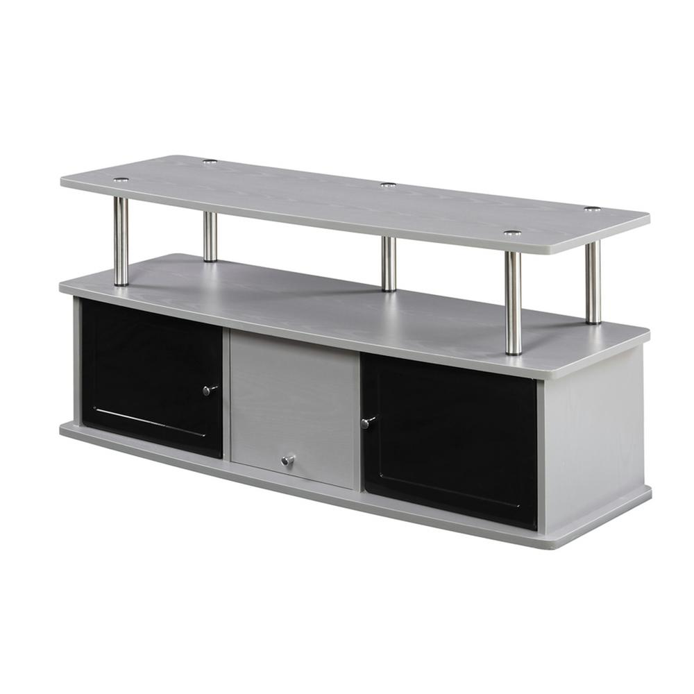 Convenience Concepts Designs2go Gray 3 Cabinet Tv Stand R5 195 The