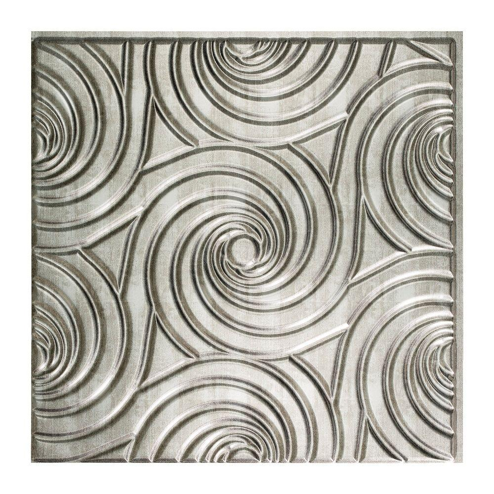 Fasade Typhoon - 2 ft. x 2 ft. Glue-up Ceiling Tile in Crosshatch Silver