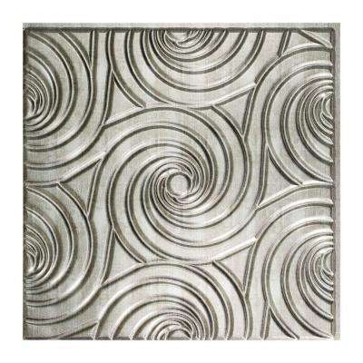 Typhoon - 2 ft. x 2 ft. Glue-up Ceiling Tile in Crosshatch Silver