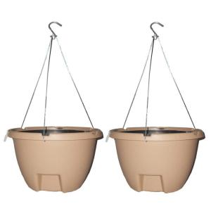 The Weekender 16 inch Sand Polypropylene Hanging Self-Watering Planter (2-Pack)