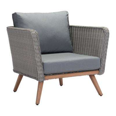 Monaco Arm Aluminum Outdoor Lounge Chair with Gray Cushion