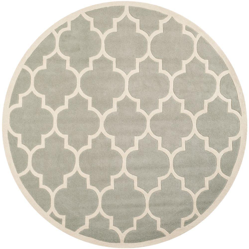 Safavieh Chatham Grey/Ivory 4 ft. x 4 ft. Round Area Rug