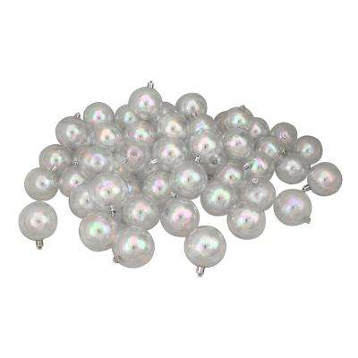 Clear Iridescent Shatterproof Christmas Ball Ornaments (60-Count)