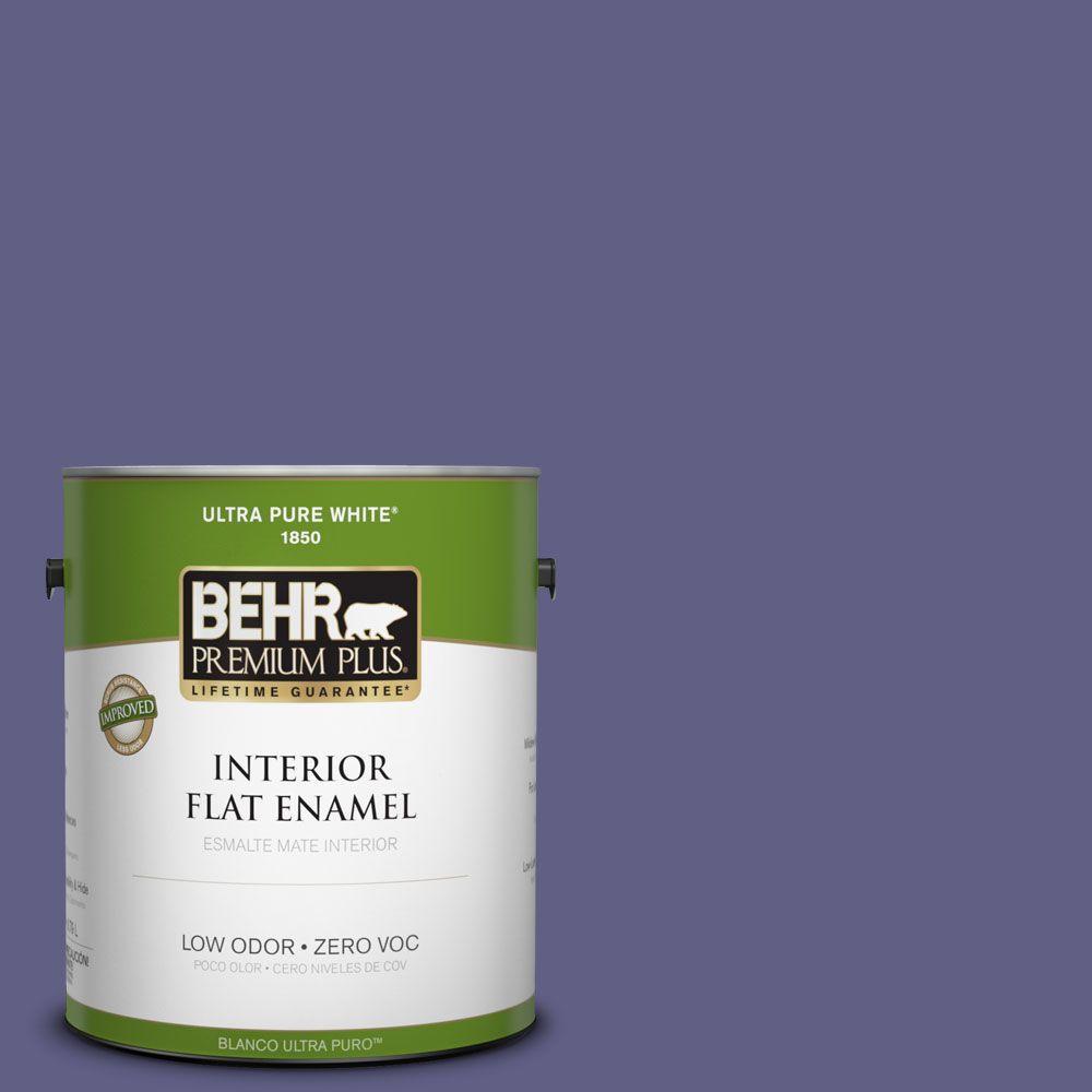 BEHR Premium Plus 1-gal. #640D-7 Pharaoh Purple Zero VOC Flat Enamel Interior Paint-DISCONTINUED