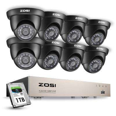 8-Channel 1080p 1TB Hard Drive DVR Security Camera System with 8-Wired Dome Cameras