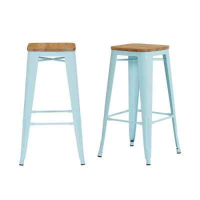 Finwick Seafoam Blue Metal Backless Bar Stool with Wood Seats (Set of 2) (16.93 in. W x 29.53 in. H)