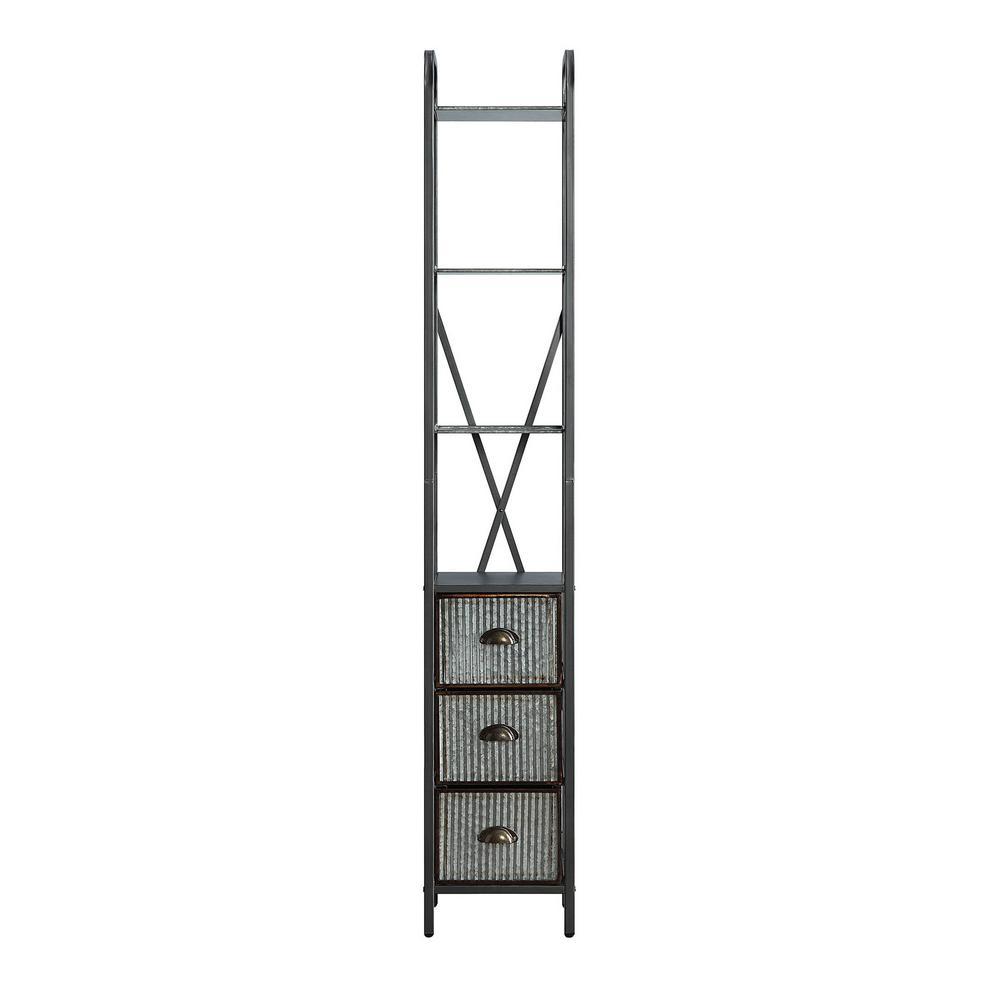 Intek 11.8 in. W x 11.22 in. D x 72.6 in. H Silver 3-Drawer Floor Cabinet