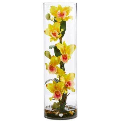 20 in. High Cattleya Yellow Orchid Artificial Floral Arrangement in Cylinder Vase
