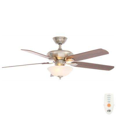 Flowe 52 in. LED Indoor Brushed Nickel Ceiling Fan with Light Kit and Remote Control