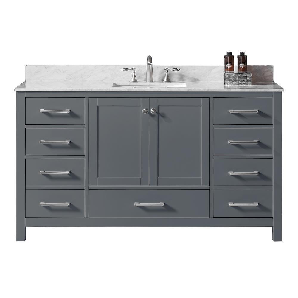 60 in. W x 22 in. D x 34.2 in. H Bath Vanity in Cashmere Grey w/ Carrara Marble Vanity Top in White w/ White Basin