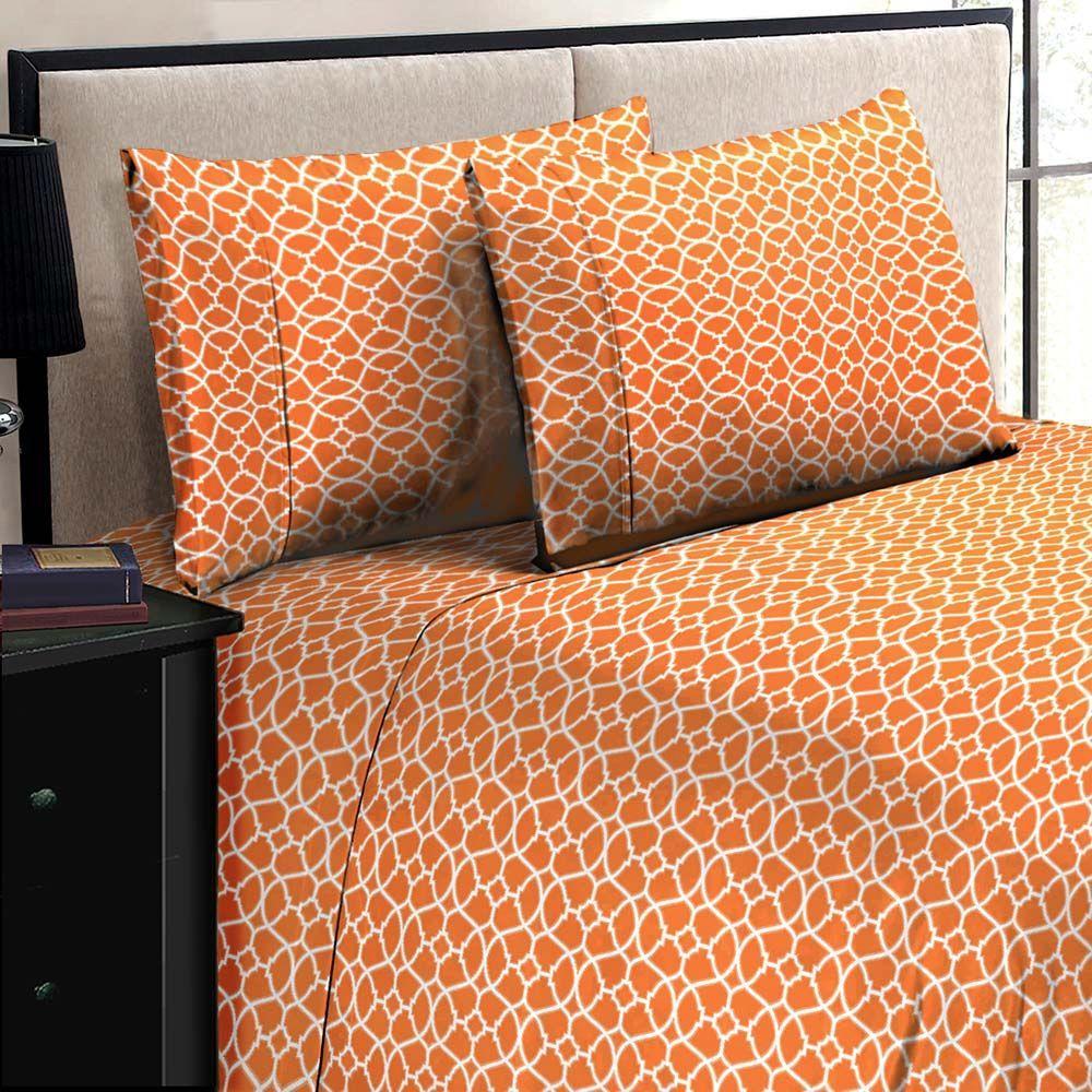 Jill Morgan Fashion Printed Geo Orange-White Microfiber Queen Sheet Set (4-Piece)