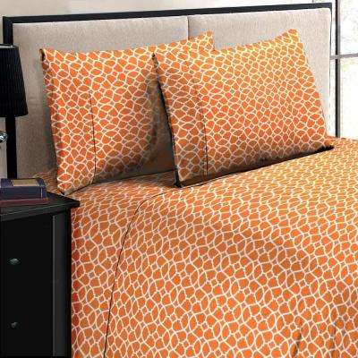 Jill Morgan Fashion Printed Geo Orange-White Microfiber Queen Sheet Set (4-Piece)