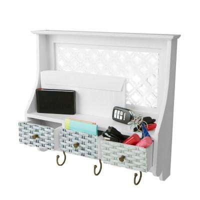 5.35 in. W x 3.94 in. D White Door or Wall Mount Coat and Key Rack with 3-Drawer Storage Compartments