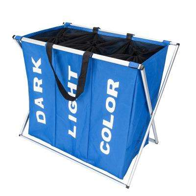 Blue Fabric Portable Three Lattice Laundry Basket