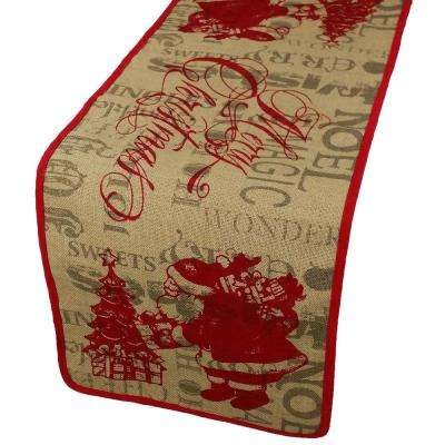 36 in. H x 14 in. W Saint Nick Christmas with Printed Burlap Collection Table Runner