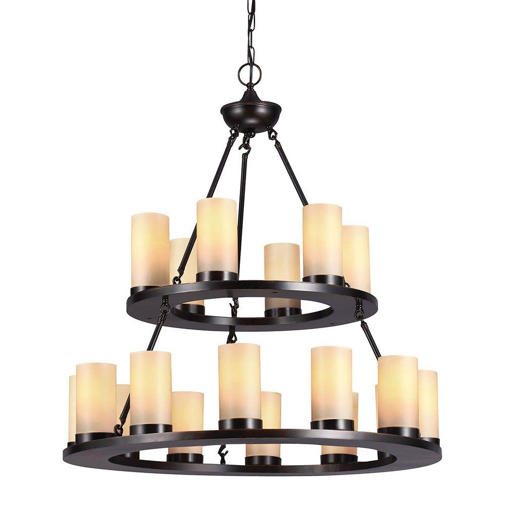 Sea Gull Lighting Ellington 18 Light Burnt Sienna Round Chandelier With Cafe Tint Candle Gl