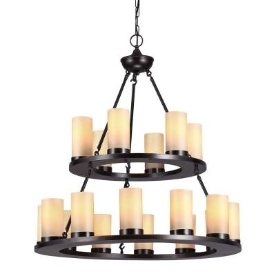 Ellington 18-Light Burnt Sienna Round Chandelier with Cafe Tint Candle Glass Shade