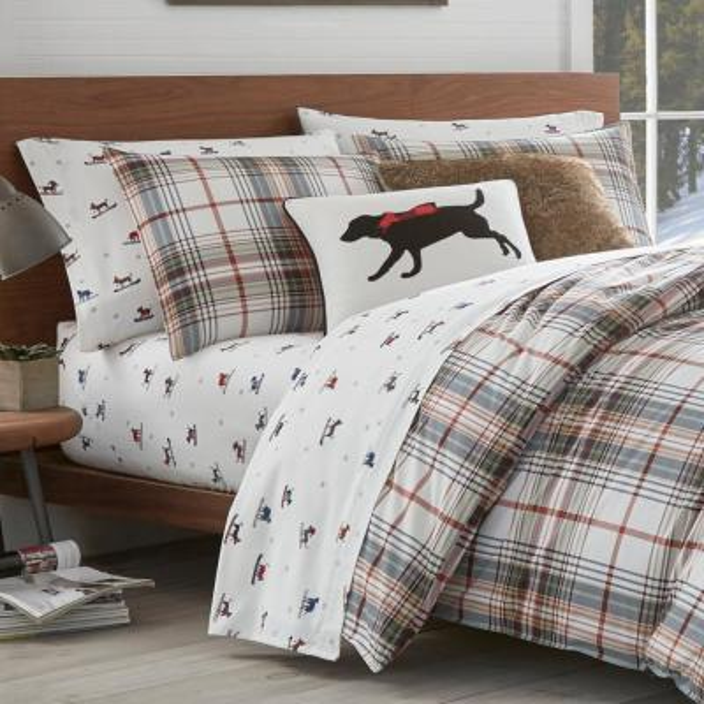 Classic Red Plaid Cotton Comforter Set