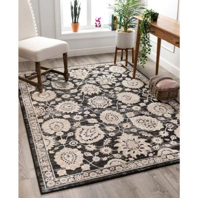 Avebury Madison Grey Vintage Oriental Floral Persian High-Low 5 ft. 3 in. x 7 ft. 3 in. Area Rug