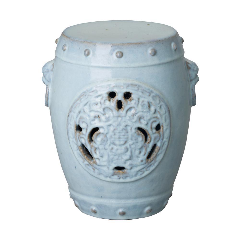 Dragon Medallion Distressed Misty Blue Ceramic Garden Stool