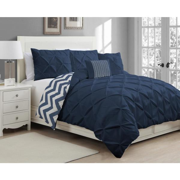 Avondale Manor Ella Navy Queen Pinch Pleat 5-Piece Duvet Set ELL5DVQUENGHNV