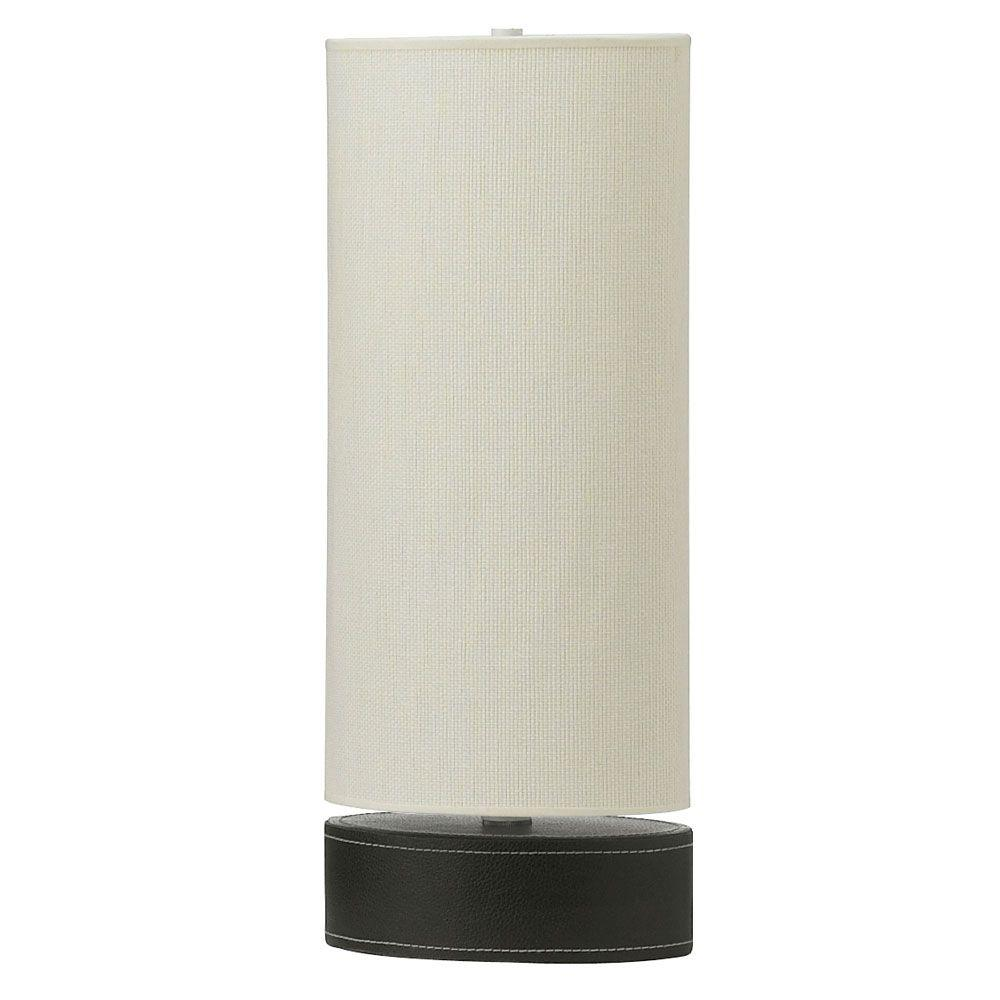 Catherine 19 in. Black Table Lamp with White Linen Shade
