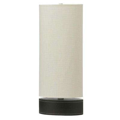 Catherine 19 in. Incandescent Black Table Lamp with White Linen Shades