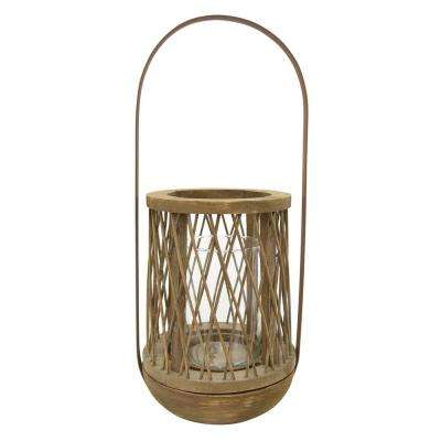 21.75 in. Wood / Metal Lantern in Brown