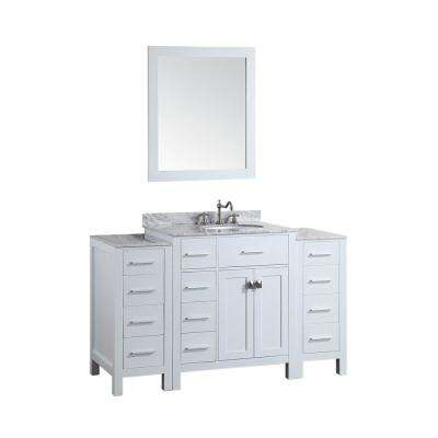 Bosconi 56 in. W Single Bath Vanity in White with White Carrara Marble Vanity Top in White with White Basin and Mirror