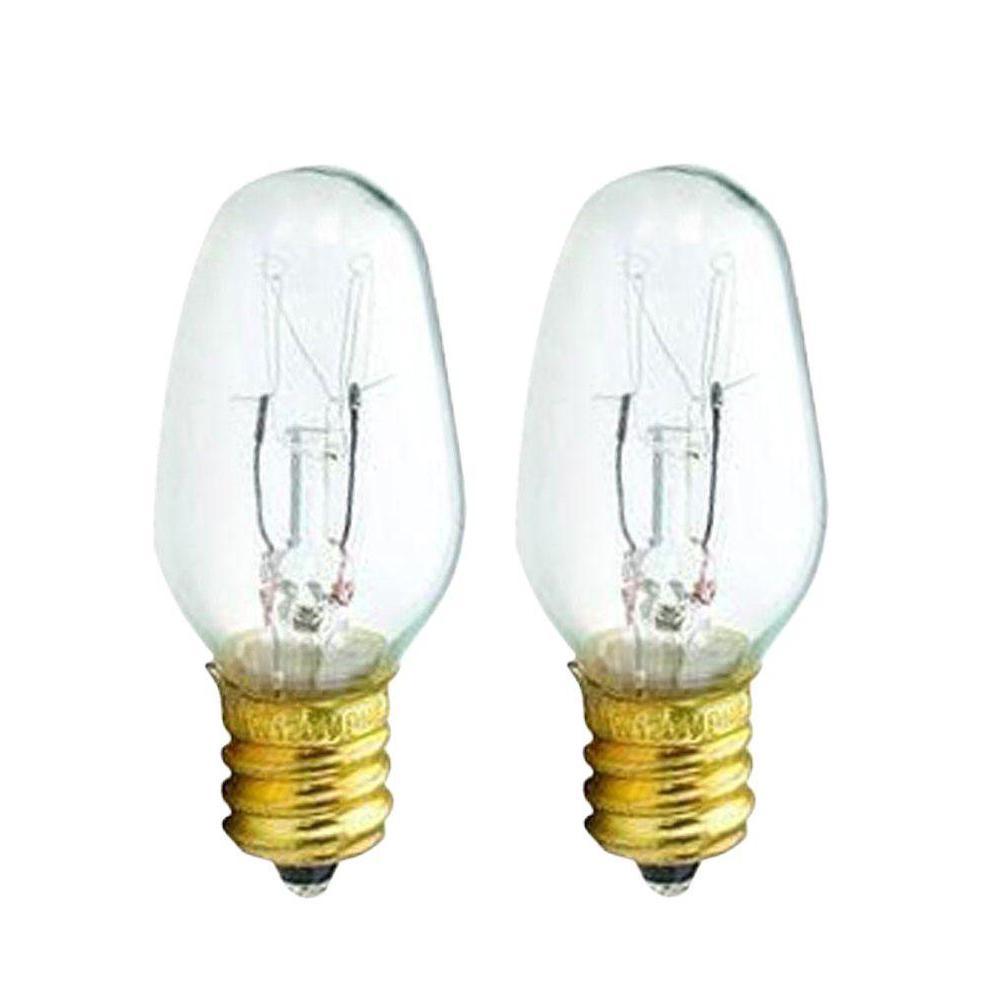 15 Watt C7 5 Incandescent Clear Candelabra Base Light Bulb 2 Pack
